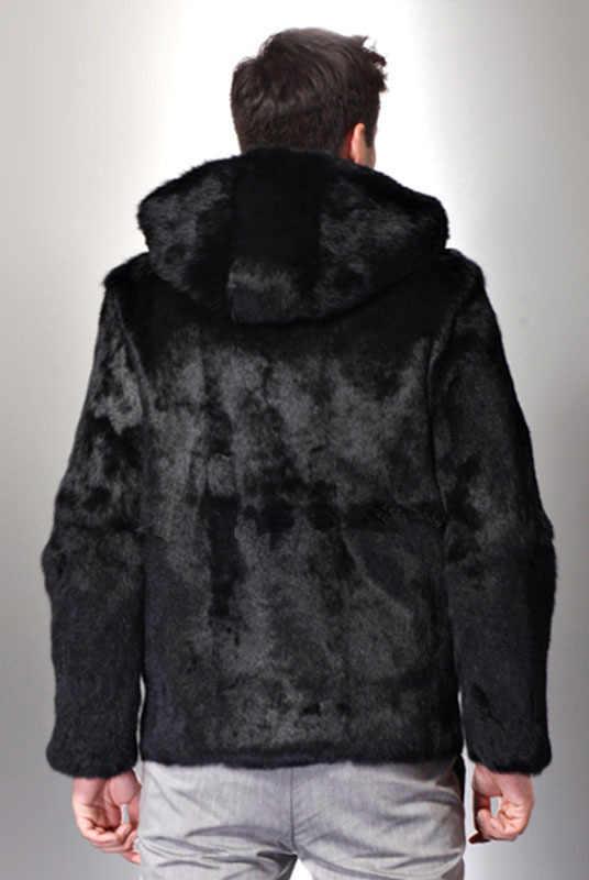 Vetement degli uomini di inverno cappotto di pelliccia del faux Nero di Pelliccia di Pelliccia di lusso della pelliccia del visone cappotti Gotico con cappuccio a maniche lunghe giacca di pelliccia Roupas masculinas