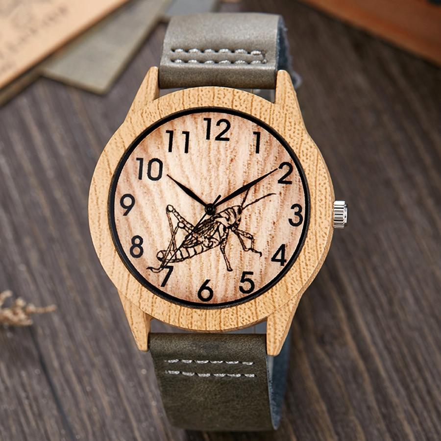 Imitate Wood Watch Men Women Imitation Wooden Wristwatch Soft Leather Band Male Quartz Couple Wrist Clock Skull Mantis Horse Uhr