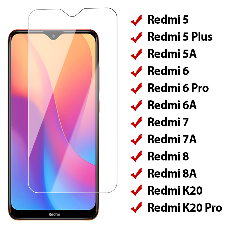9H Transparent Tempered Glass for Redmi 8 8A 7 7A 5 Plus Screen Protector on Xiaomi Redmi K20 Pro 6 Pro 5A 6A Protective Film(China)