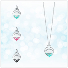 1: 1 sterling silver 925 classic blue pink black water splash heart pendant necklace jewelry