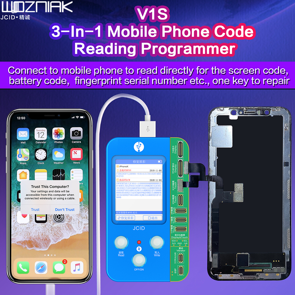 JCID V1S For IPHONE 7 8 8P X 11 PRO MAX Photosensitive Original Color Touch Shock Battery Fingerprint Serial Number Programmer
