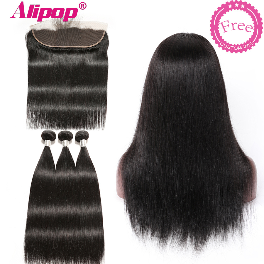 Alipop Brazilian Hair Bundles With Frontal Can Be Customized Into A Wig Straight Hair Bundles With Frontal Remy Human Hair