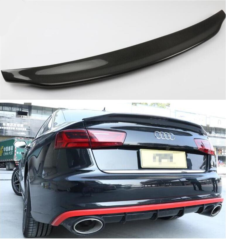 High Qualit CARBON FIBER REAR WING TRUNK LIP SPOILER FOR AUDI A4 S6 RS6 C7 C7.5 B9 Sedan 2012-2019 B STYLE BY EMS image