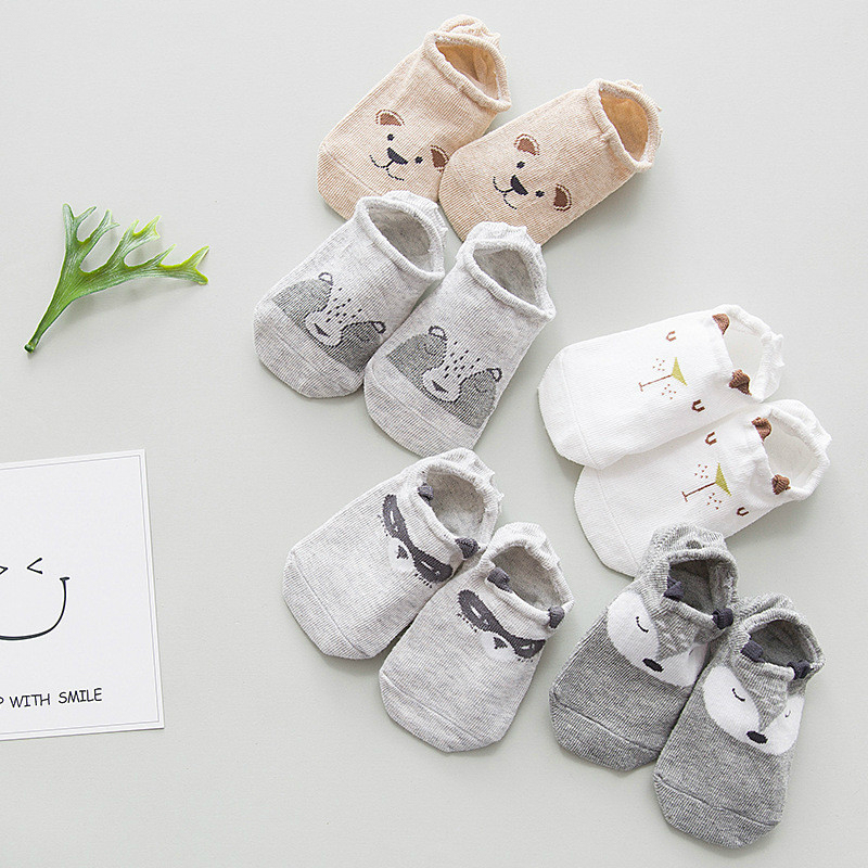 5 Pairs/lot Spring Summer Kids Boat Socks Invisible Children Cotton Socks For Girls Low Cut Anti-slip Socks On The Boy