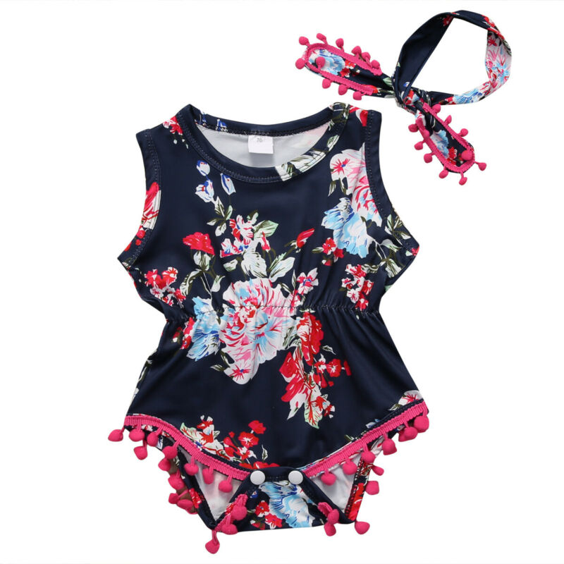 Toddler Newborn Baby Girls Tassels Floral Romper Jumpsuit Outfit Clothes Summer