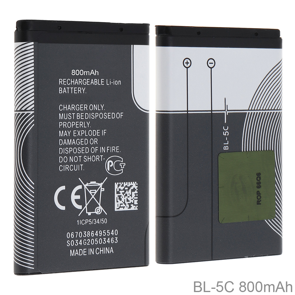 3.7V Actual Capacity 800mAh Rechargeable Li-ion Mobile Cell Phone Battery With PTC Protection For Nokia 3100 N70 N72 N91 5130