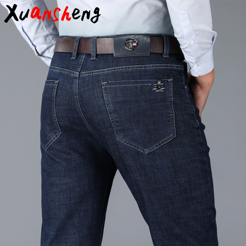 Xuansheng Straight Men's Jeans 2020 New Brand Blue Black Dark Thick Classic Stretch Business Casual Loose Streetwear Denim Jeans