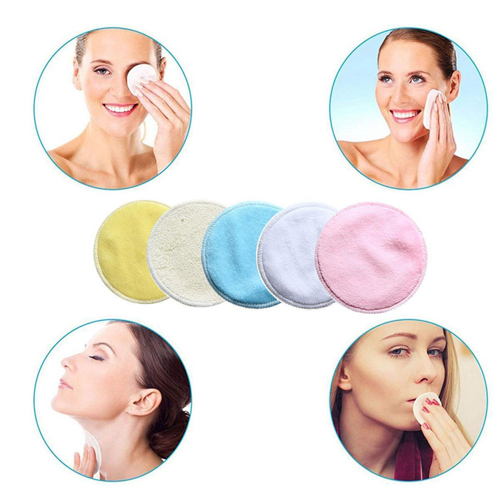 Solid Washable Bamboo Fiber Rounds Wipes Facial Cleaner With Net Bag Skin Care Makeup Remover Pads Universal Portable Reusable