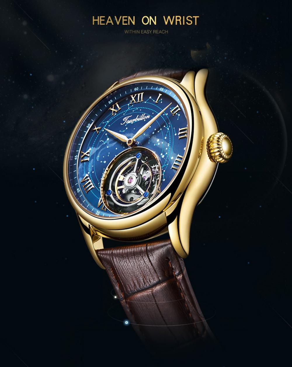 100% Tourbillon GUANQIN Men watches top brand luxury Tourbillon clock men Sapphire Skeleton mechanical watch Relogio Masculino 2