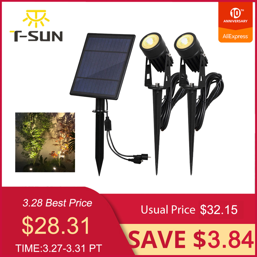 T-SUNRISE Waterproof IP65 Outdoor Garden LED Solar Light Super Brightness Garden Lawn Lamp Landscape Spot Lights