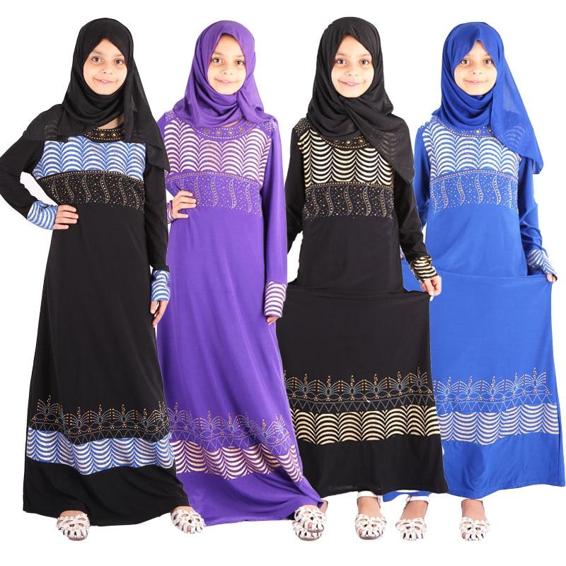 Kid Girls Muslim Dress Hijab Islamic Flower Lace Abaya Robe Child Turkish Kaftan