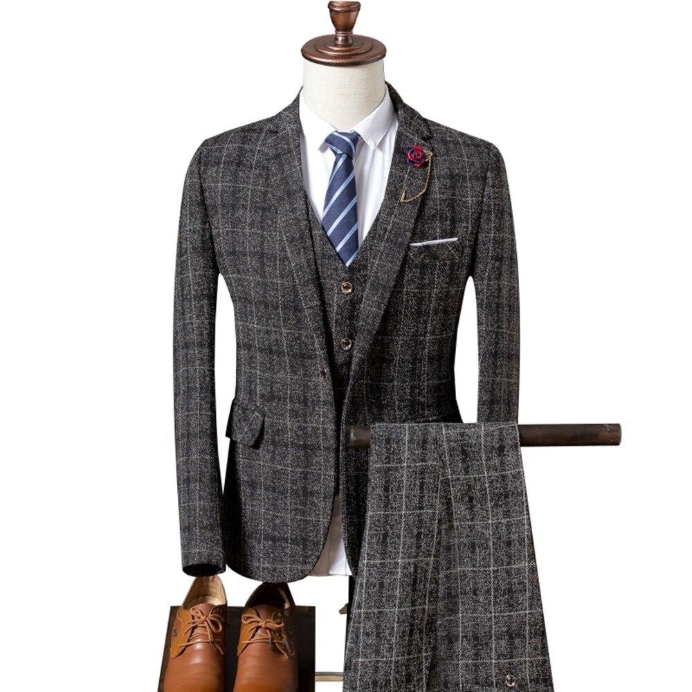 Мужской костюм, новинка 2019, мужской Клетчатый костюм, 3 предмета, классические клетчатые костюмы, мужские деловые свадебные костюмы, облегающие мужские вечерние костюмы Tuexdo - 3