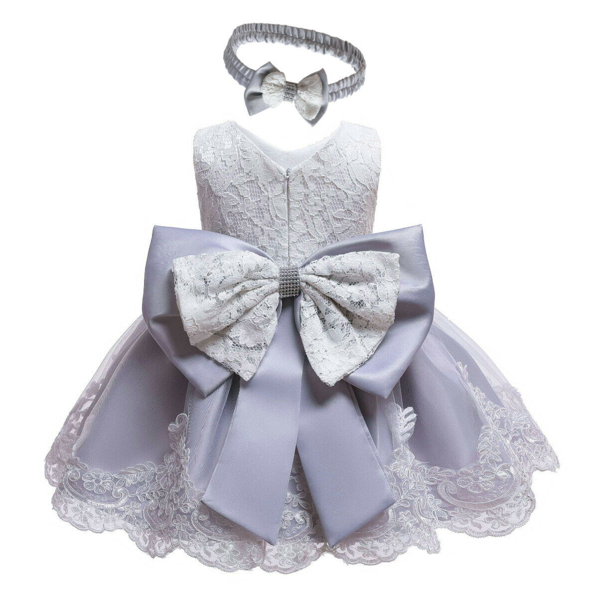 Dress Christening Wedding-Party Girls Purple Baby Princess Kids Clothes Pink White Sleeveless title=