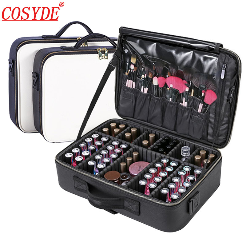 Clapboard Cosmetic Bag Leather Professional Make Up Box Large Capacity Storage Handbag Travel Insert Toiletry Makeup Suitcase