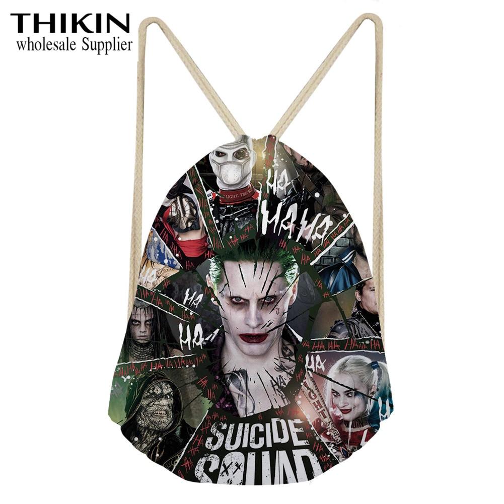 THIKIN Suicide Squad Joker Print String Shoulder Rucksack Girls Strap Drawstring Bag Small Cinch Daypack Mochila Bolsa Customize