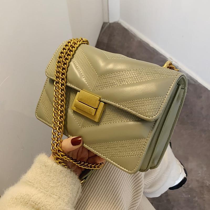 Vintage Fashion Square Crossbody Bag 2020 New High Quality PU Leather Women's Designer Handbag Lock Chain Shoulder Messenger Bag