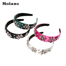 MOLANS Baroque Style Rhinestone Hair Hoop Solid Color Wide Hair Band Women Fashion Headband Hair Accessories Headwear 2019 New(China)