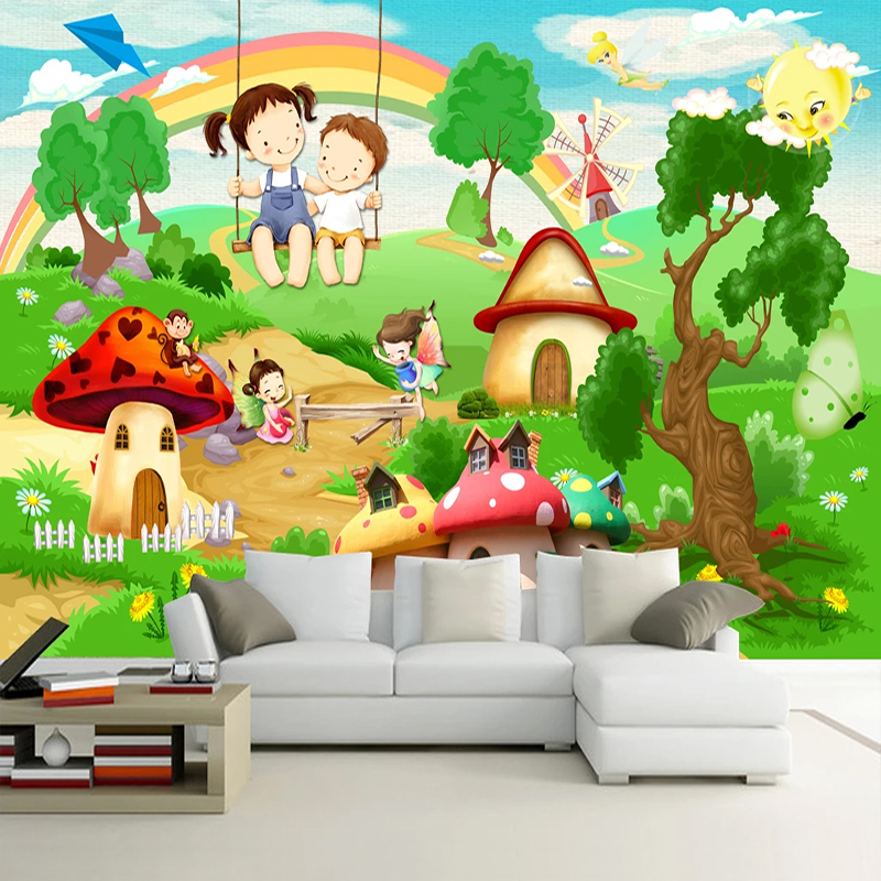 Custom Mural Wallpaper Waterproof 3D Cartoon Children Playground Landscape Kids Room Bedroom Wall Decoration Photo Wall Paper