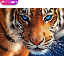 MomoArt 5D Tiger Diamond Painting Animal Full Drill Square DIY Embroidery Cross Stitch Needlework Home Decoration