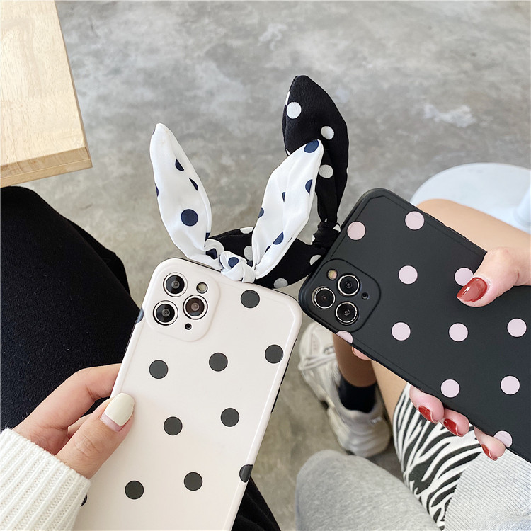Cute Art Bowknot Wave Point Korean Soft Silicone Phone Case For iPhone 12