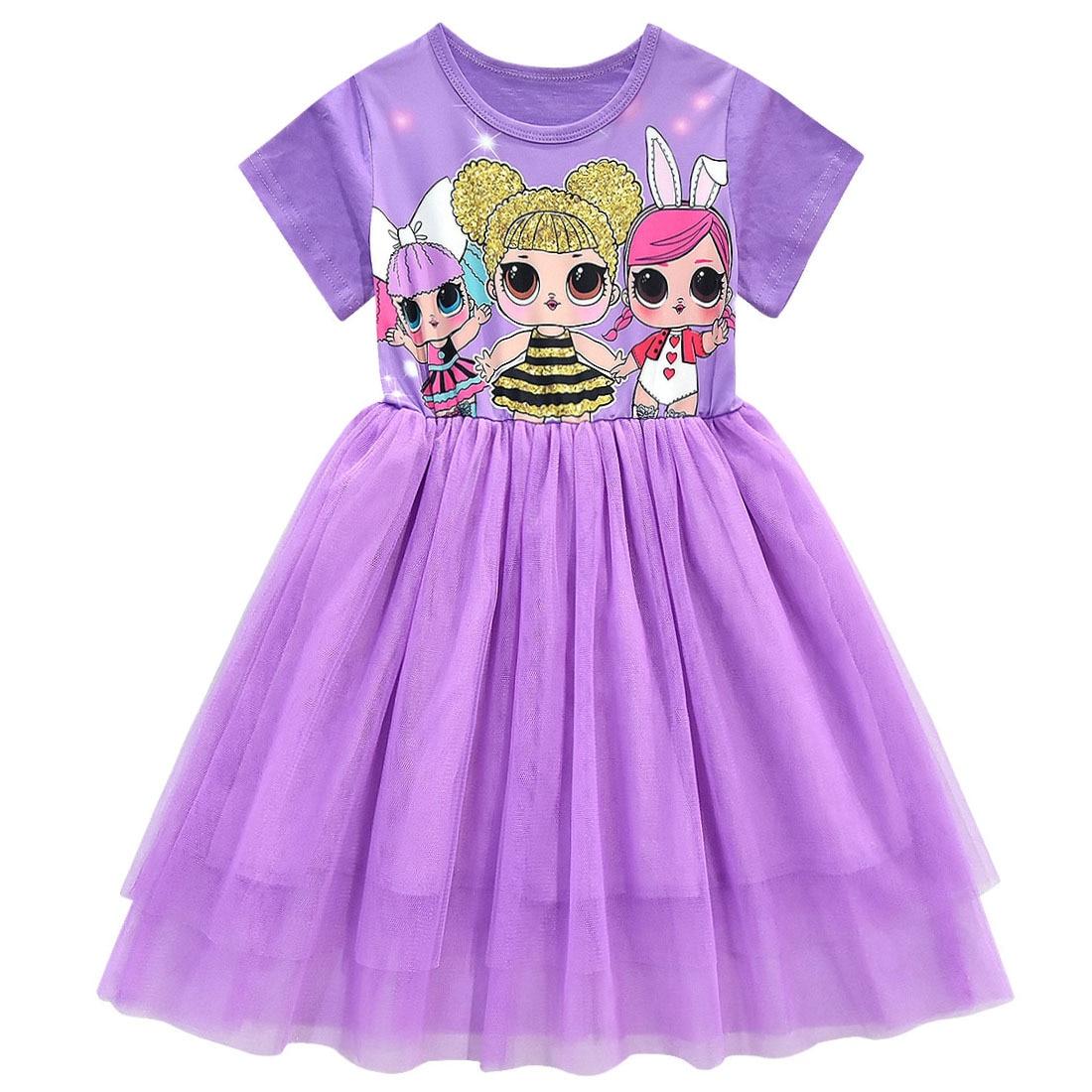 Girls Lol Dress Toddler Baby Lol Doll Clothes Kids Cartoon Print Princess Dress Children Short Sleeve Birthday Vestido for Girl 1