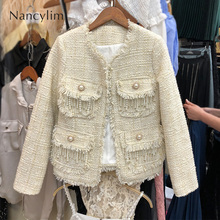 2019 Autumn New Mini-jacket with Pearl Fringes Tweed Woolen Jacket Women Short Jackets Elegant Lady Small Fragrance Coat Femme