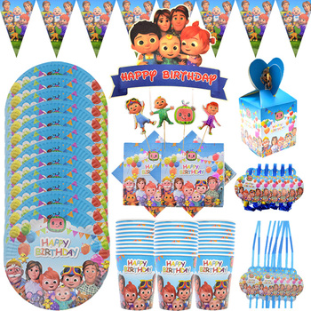 Cocomelon family JJ Birthday Party Cups Paper Plates Disposable Tableware Set Baby Shower Cake decor Supplies kids Favorite lego blocks theme disposable tableware set paper plates cups baby shower birthday party supplies decoration for kids