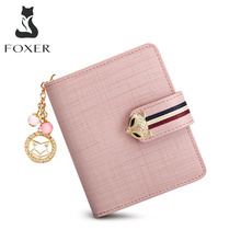 FOXER Card Holder Split Leather Women's Wallets Designer Coin Purse Girl's Zipper Wallet High Quality Short Wallet with Pendant