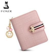 FOXER Card Holder Split Leather Womens Wallets Designer Coin Purse Girls Zipper Wallet High Quality Short Wallet with Pendant