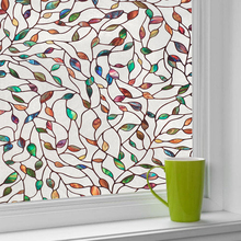 LUCKYYJ Window Film Privacy,Decorative Stained Glass Window Film Removable Self Adhesive Glass Sticker Static Cling Window Paper privacy window foil film 3d cherry stained static cling glass sticker self adhesive pvc glass film furniture decorative 90x200cm