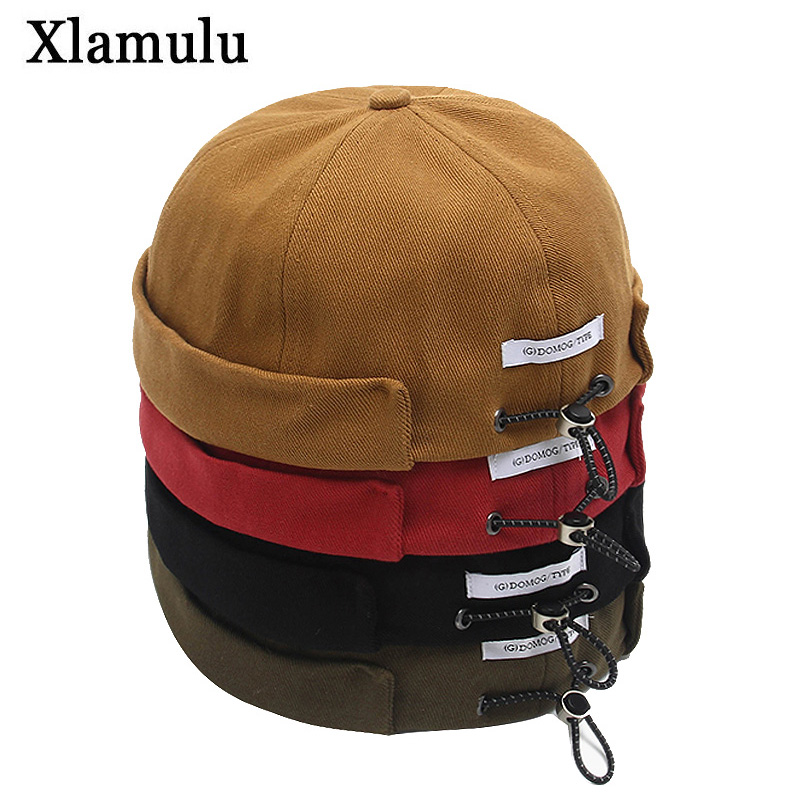 Fashion Hip Hop Cap Men Street Casual Docker Sailor Biker Hat Skullcap Loop Beanie Brimless Cap Women Pumpkin Beanie Gorra Hats