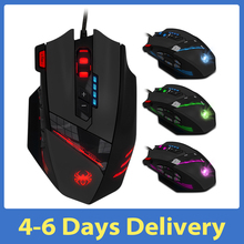 Computer-Game-Mice Zelotes-C-12 Programmable-Buttons Wired Led-Lights Adjustable 4 USB
