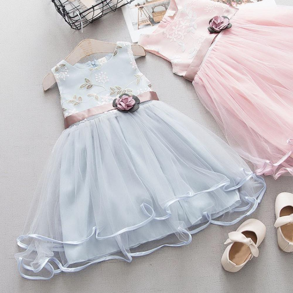 Toddler Baby Kids Girls Flowers Tulle Dress Princess Dresses Party Dress Clothes