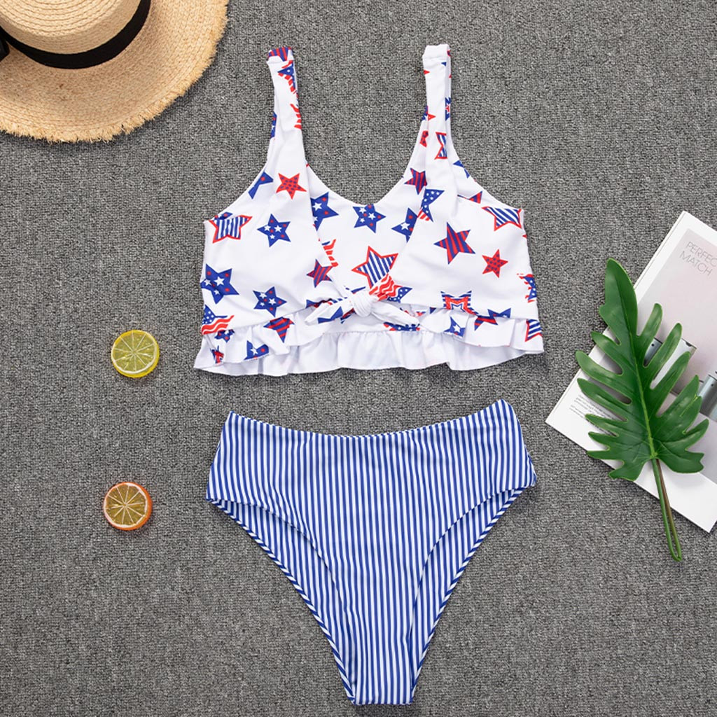 Hot Summer Two Pieces Women's Bathing Suit Floral Print High Waist Female Bikini Swimwear Thin Slim Biquini Maio Feminino Praia