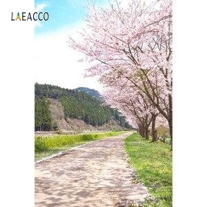 Image 2 - Laeacco printemps Portrait Photophone forêt fleur arbres chemin photographie arrière plans bébé nouveau né Photo arrière plans Photozone
