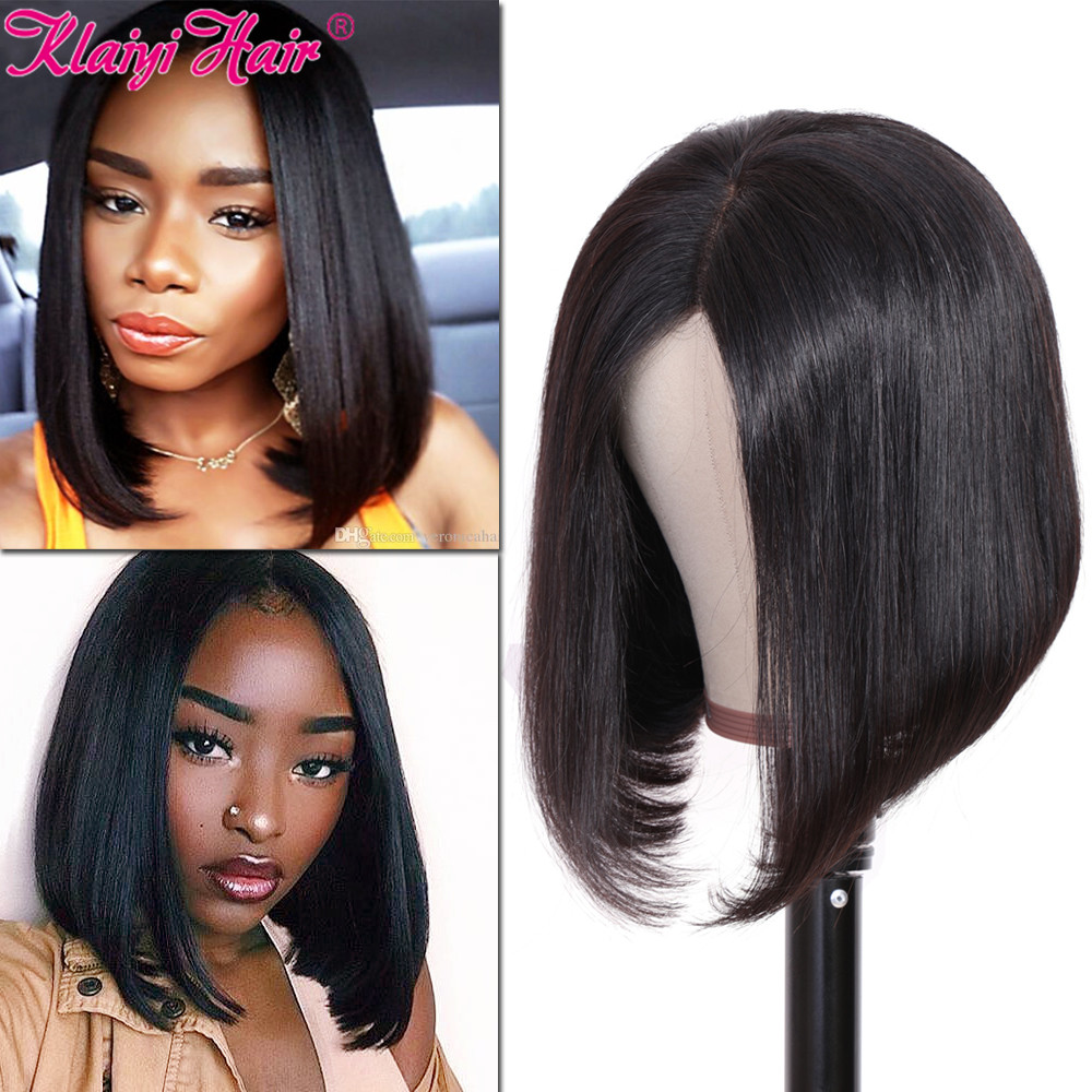 Klaiyi Hair Straight Bob Human Hair Wig 8 14 Inch Pre Plucked Brazilian Remy Hair 4 4 13 4 13 6 Inch Lace Front Wig 150 Density Human Hair Lace Wigs Aliexpress