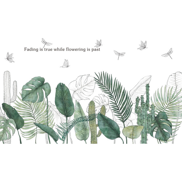 24 Style Green Leaf Wall Stickers 8