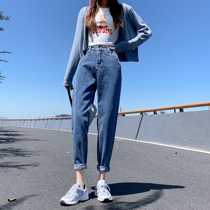 Корейские джинсы с высокой талией, женские штаны шаровары, широкие штаны, Свободные повседневные размера плюс Хай стрит джинсовые штаны Pantalon Femme в винтажном стиле, с поясом B90|Прямые джинсы| | АлиЭкспресс