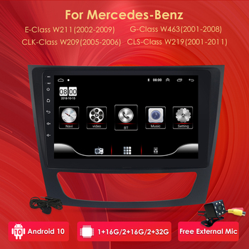 2 din Android 10 Car NO DVD Multimedia For Mercedes Benz E-class W211 E200 E220 E300 E350 E240 E270 CLS CLASS W219 Radio image