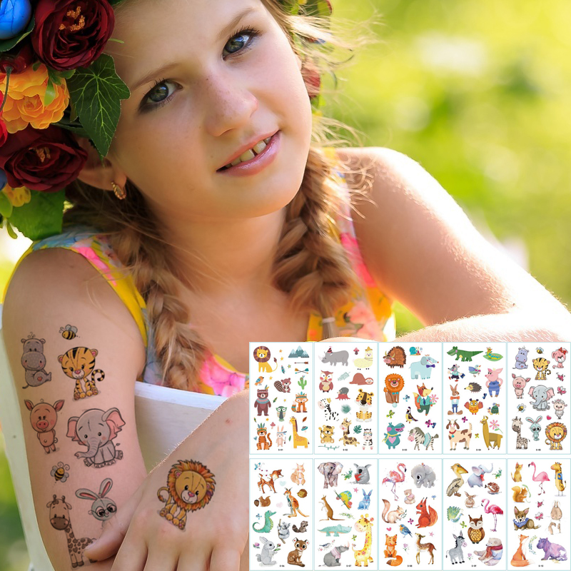 10pcs/lot Kids Tattoo Sticker Animals Cartoon Horse Tattoo For Kids Children Tattoo Bear Lion Rainbow Unicorn Tattoo Kids Sets