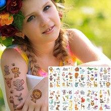 10 pçs/lote crianças etiqueta da tatuagem animais dos desenhos animados cavalo tatuagem para crianças urso da tatuagem leão arco-íris unicórnio tatuagem crianças conjuntos