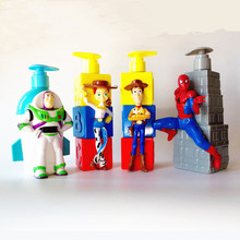 1pc 17cmToy Story 4 Woody Lightyear Jessie Spide Man Liquid Soap Bath Box Movie Toy Kids Gift Collection B642