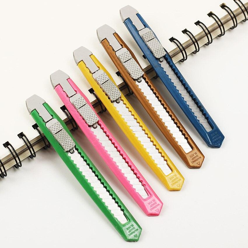 New Box Cutter Students Utility Knife Snap Off Retractable Razor Blade Knife Color Random Stationery Random 1PC