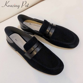 Krazing pot fashion classic soft sheep suede loafers shoes round toe low heels slip on daily wear comfortable women pumps l16