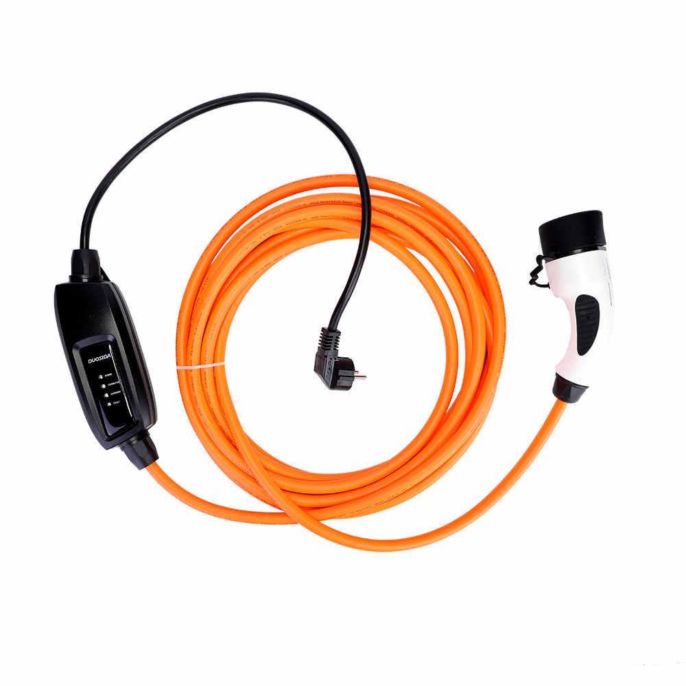 DUOSIDA EVSE 16Amp IEC 62196 ładowarka EV typ 2 Mennekes EV kabel ładujący pojazdy elektryczne złącze EV samochód ue wtyczka Schuko