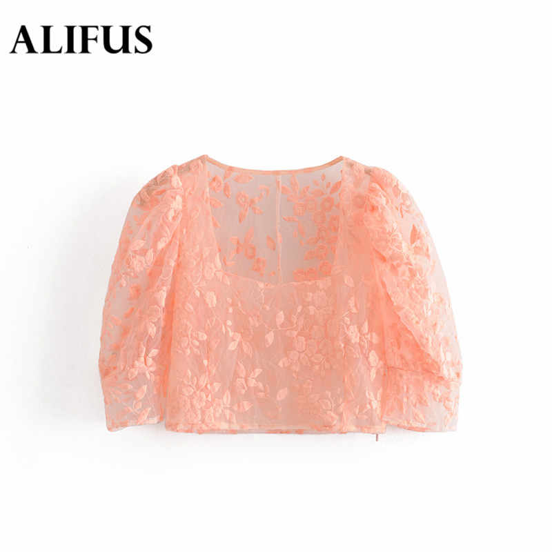 Mode Za frauen sexy organza floral stickerei crop top transparent kurzen sleelve sehen durch kurze bluse chic solide tops