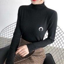 Women Autumn Moon Embroidered Slim T Shirt Half High Collar Long Sleeve Casual Bottoming T-shirt