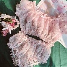 Женское Марлевое с цветочным принтом оборками каваи белье домашняя одежда сексуальная пижама бюстгальтер короткий рукав топы нижнее белье-шорты набор для
