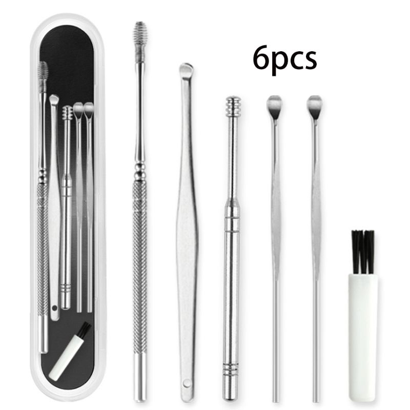 6Pcs/Set Stainless Steel Ear Wax Removal Tool Cleaner Kit Spiral Earwax Curette Pick Spoons Cleaning Brush Health Care With Case