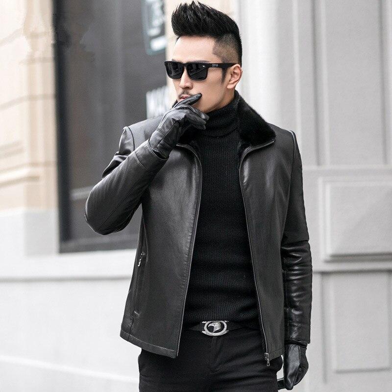 Real Sheepskin Leather Jackets Men Real Mink Fur Collar Coat Genuine Leather Jacekt Mens Coats JM-536-59 MY740